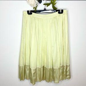 Burberry Summery Yellow Cotton/Silk Pleated Skirt